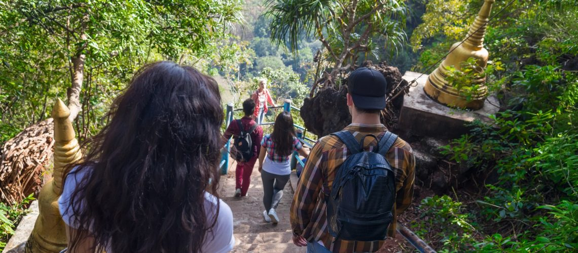 Young People Group Go Down Stairs Mountains Asian Holiday Summer Vacation Asian Travel Tourists